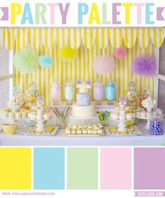 Party Palette: Pastel pop baby shower in vibrant pastels #colorpalette