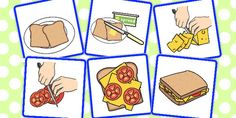 These cards can be cut up and intend to support sequencing and narrative skills. Six cards are provided showing the sequence for making a sandwich. Phonics Flashcards, Sequencing Worksheets, Sequencing Cards, Story Sequencing, Speech Therapy Activities, Kids Learning Activities, Procedural Text, Sandwich Pictures, Explanation Writing