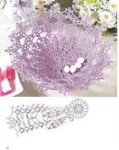 Kira scheme crochet: Scheme crochet no. Crochet Vase, Crochet Motifs, Crochet Diagram, Thread Crochet, Crochet Gifts, Crochet Doilies, Doily Patterns, Crochet Patterns, Quick Crochet