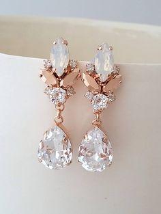 Rose gold earringsBridal chandelier earringsWhite opal rose