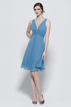 V-neck A-line with ruffle embellishment chiffon bridesmaid dress