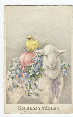 Vintage French Easter card, Joyeuses Paques, lamb carrying chick and egg
