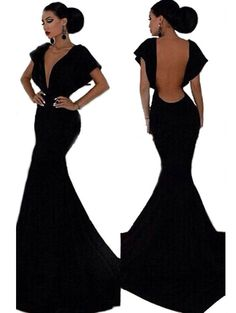 Plunging neckline sexy backless solid women maxi dress YR-LC6830