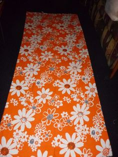 "Vtg Mid Century MOD Orange Black White Terry Cloth Floral Fabric 36"" x 2.5 Yds"