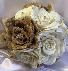 Burlap+bouquet+/+Country+wedding+/+Rustic+Chic+by+ElianasTreasures,+$52.00