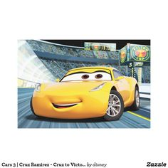 Cars 3 Cruz Ramirez - Cruz to Victory Canvas Print , Disney Cars Party, Disney Pixar Cars, Car Party, Cruz Ramirez, Yellow Car, Lightning Mcqueen, Car Shop, Vacation Pictures, Gifts For Dad