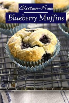 Easy gluten-free blueberry muffin recipe. Light and airy, these blueberry muffins are loaded with fruit.