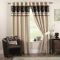 Curtina Coniston Black Lined Eyelet Curtains- | Debenhams