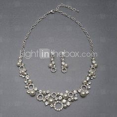 Alloy Elegant Imitation Pearl Wedding Jewelry Set Including Necklace,Earrings