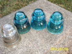 Vintage Hemingray Insulators~Aqua Blue-42/Clear Glass-45~Telephone Pole~Craft