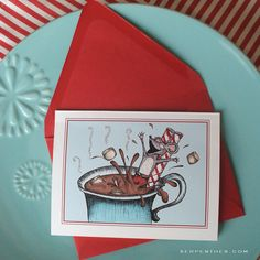 Maus Cocoa Holiday Cards set of 10 by Line117 & @serpenthes // #christmas #cards #stationery #maillove #paperlove #paperaddicts #christmascandy #candy #peppermint #mouse #holiday #iceskating #tophat #christmasmouse #hotcocoa #hotchocolate #winterwonderland #candyland