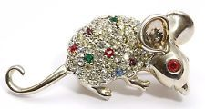 Vintage SIGNED Sterling Silver Multi Color Crystal Rhinestone Mouse Brooch Pin