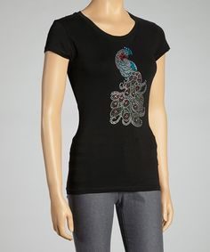 Take a look at this Black Rhinestone Peacock Scoop Neck Top by Sweet Girl on #zulily today! $12 !!