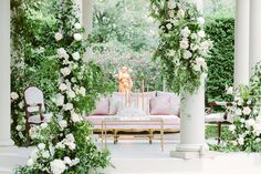 A gorgeous intimate wedding at the Elms Mansion on St Charles in New Orleans. Crystal candle sticks by House of Modern Vintage NOLA and lush enlightened garden style florals decorating the outside courtyard gazebo. Rentals by Lovegood Rentals. Trellis Design, Candle Sticks, Antique Decor, Floral Wall, Ceremony Decorations, Garden Styles, Garlands, Arches, Corporate Events