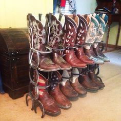 How neat! Rustic horse shoe boot rack by FabricationsByBruce on Etsy, $75.00