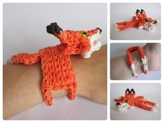 Rainbow Loom 3D FOX bracelet. Designed and loomed by Nancy at Loombicious. Click photo for YouTube tutorial. 09/29/14.