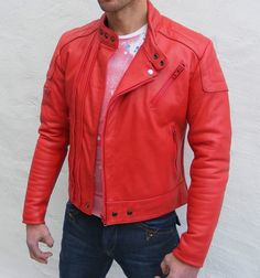 Handmade Men red leather jacket with front by customdesignmaster, $139.99