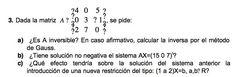Ejercicio 3 del Examen de Matemática 2 (ADE, ULL).  Diciembre 2004. Tema: Matrices