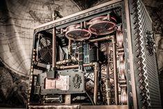 Steampunk by Quadriplegic Pc Gaming Setup, Pc Setup, Computer Build, Computer Case, Flexible Tubing, Cpu Socket, Quadriplegic, Cool Desktop, Cooler Master
