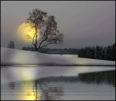 .Wish I had been there to take this photo...So beautiful, my favorite loves ..the moon, water and snow. Jan Bigelow