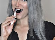 You can finally get rid of coffee and wine stained yellow teeth! Try the top 5 charcoal teeth whitening products to get a perfect white smile. Dark Silver Hair, Silver Ombre Hair, Dyed Hair Ombre, Grey Hair Dye, Dyed Hair Purple, Pastel Pink Hair, Long Gray Hair, Yellow Hair, Green Hair