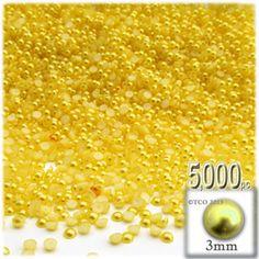 5,000pc Pearl finish Half Dome Beads, Round, 3mm, Sunshine Yellow