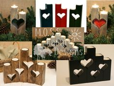 Rustic Heart Linked Family Candle Holders by MossFarmDesigns Candle Holders Wedding, Wood Candle Holders, Christmas Wood, Christmas Projects, Barn Wood Projects, Diy Projects, Wood Crafts, Diy Crafts, Rustic Wedding Gifts