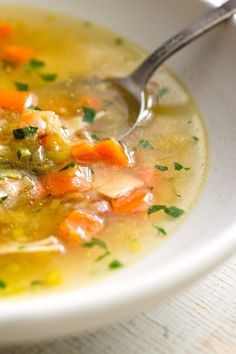 NYT Cooking: Chicken soup is one of the most painless and pleasing recipes a home cook can master. This soup has all the classic flavors (celery, carrot, parsley) but has been updated for today's cooks, who can't easily buy the stewing hen and packet of soup vegetables that old-fashioned recipes used to call for. A whole bird provides the right combination of fat, salt and flavor. Don't be tempted to use al...