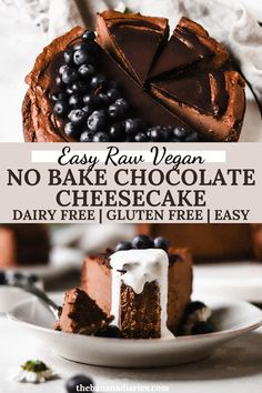My whole family absolutely LOVES this raw vegan chocolate cheesecake, and not everyone is vegan!! It's so easy to make, and the crust is entirely gluten free and vegan. I make this every year for Valentine's Day. Such an easy and healthy vegan dessert! #vegan #cheesecake #glutenfreedessert