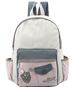 Buenocn Women Korean Style Canvas Backpack Girl's Schoolbag Travel Bag SHY1076 (pink)
