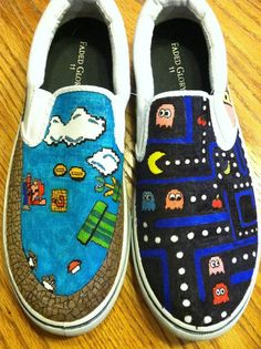 Personalized Customized Cartoon 8-bit Nintendo Designed Trendy Hand Drawn Canvas Shoes via Etsy