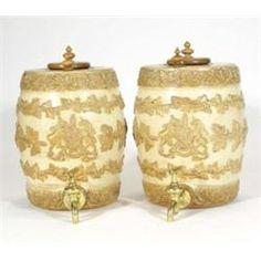 Pair of 19th century Doulton & Watts stoneware spirit barrels