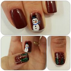 Winter is coming so is the snow! Holiday song will come soon and two songs inspired me for the week's nailart. Frosty the snowman and Oh Christmas tree.