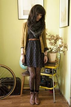 cool textures and layers. A slight pattern but nothing that will distract. textured tights can be interesting too