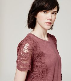 Thumbnail Image of Primary Image of Lace Sleeve Tee