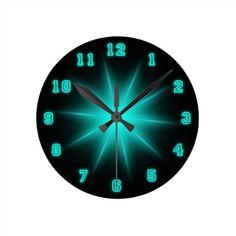 """Blue Neon Star 8"""" Round Clock"""