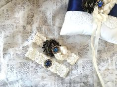 Something blue wedding garter something blue by TheRaggedDiamond