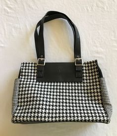 9d6944a6c531 VTG 90 S Ralph Lauren Houndstooth Purse Handbag Small Tote Black and White   RalphLauren  Tote
