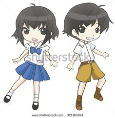 Cute cartoon Asian Thai student couple schoolgirl and schoolboy in government high school uniform sprite super deformed characters are dancing with joy in isolated background, create by vector