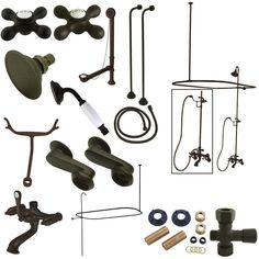 Kingston Brass Vintage Clawfoot Tub Wall Mount Package with Metal Cross Handles, Oil Rubbed Bronze Clawfoot Tub Shower, Vintage Tub, Vintage Bathrooms, Shower Diverter, Faucet Handles, Kingston Brass, Shower Set, Shower Enclosure, Shower Heads