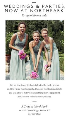 J.Crew Weddings and Parties - now available at J.Crew NorthPark!