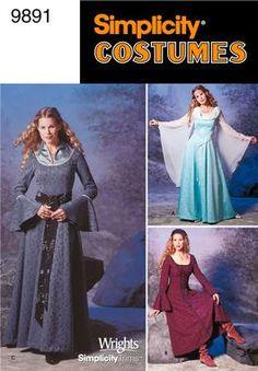 Simplicity 9891 Sewing Pattern Costume Renaissance Style Dress in Womens Size Misses Renaissance Mode, Costume Renaissance, Renaissance Dresses, Medieval Costume, Renaissance Fashion, Moda Medieval, Medieval Gown, Medieval Wedding, Medieval Gothic