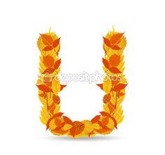 Hojas de otoño vector fuente, letra U — Vector de stock #41970239. Vocal.