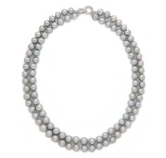 $199.99 Pearl Lustre Double Strand 8-9mm Freshwater Pearl Necklace with Sterling Silver Pave Clasp