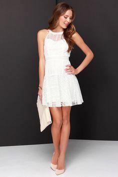 Beautiful Ivory Dress - Lace Dress - Fit and Flare Dress - $44.00
