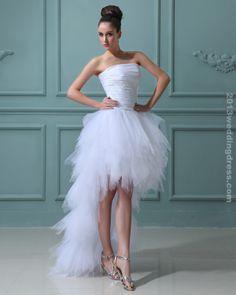 great elegant ruffles yarn strapless short bridal gown wedding dress