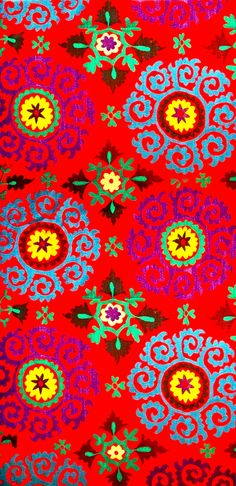 Suzani fabric...looked almost 3D to me...use in a room BOHO !