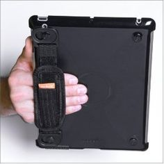 modulR iPad case has a detachable hand strap that can be configured in various ways by attaching the ends to any of the four corners of the tablet.