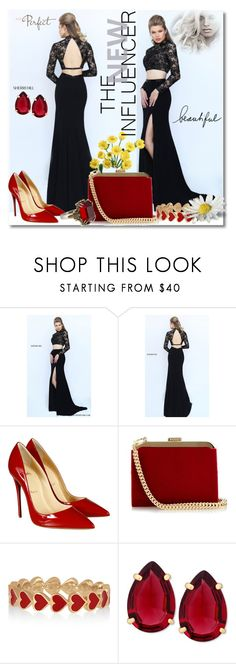 """""""DressGownStores-Sherri Hill 4/60"""" by mery66 ❤ liked on Polyvore featuring Sherri Hill, Christian Louboutin, Balmain, Alison Lou, T Tahari, Alexander McQueen, women's clothing, women, female and woman"""