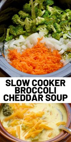 This Slow Cooker Broccoli Cheddar Soup is beyond simple, but so delicious! It definitely needs to be part of your dinner rotation! It is made in the crock pot with fresh broccoli and comes with a healthy version and a slightly less healthy creamy version. Slow Cooker Broccoli, Slow Cooker Soup, Slow Cooker Recipes, Crockpot Recipes, Soup Recipes, Dinner Recipes, Cooking Recipes, Healthy Recipes, Healthy Food